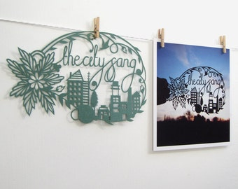 The City Sang Papercut Square Notecard / Mini Print