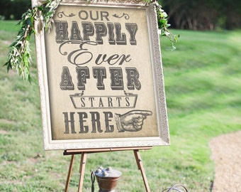 Happily Ever After Wedding Sign with Burlap Finish