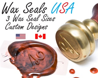 Custom Wax Seal Stamp - Wax Seals USA - Wedding Wax Seal Stamp - 3 Sizes to choose from - Your artwork on a Wax Seal