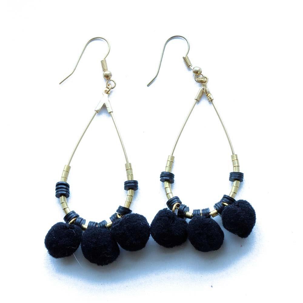 Black Pom Pom Tear Drop Earrings/ Boho Tear Drop Earrings/