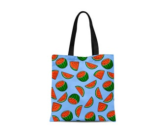 Tote Bag with Melon Design - Canvas Bag - Blue Personalised - Fruit