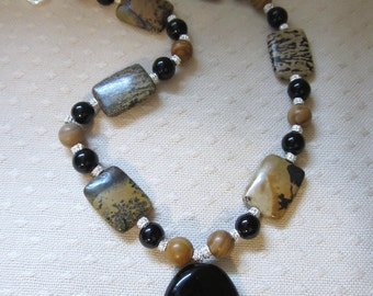 Black and tan gemstone necklace with FREE matching earring