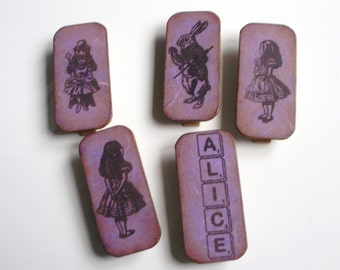 Alice In Wonderland Fridge Magnets Magnetic Pegs Decorative Clips Home Decor Neodymium Magnets Handmade Gift Box Violet/Lilac Mulberry Paper