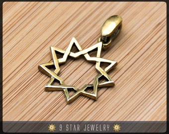 BBP3 - Brass Baha'i 9 Star Pendant (Nickel free)