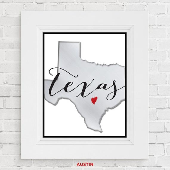 Texas wall art Houston Austin or Dallas Texas State Print
