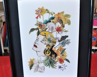 """Art collage print, mechanical print taken from one of my collage poster, floral portrait, woman, flowers, """"Expérience 3"""""""