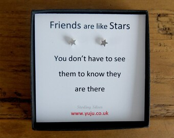 Silver Star Stud Earrings with Quote, Tiny Star Earrings, Personalised Quote Gift, Stocking Filler for Friends, Friends are Like Stars