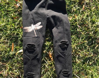 Dragonfly shredded leggings