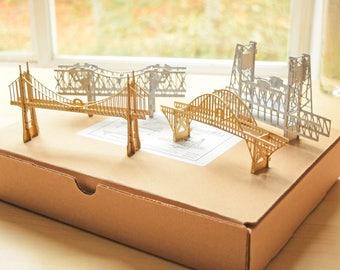 Gift Set Portland Oregon Bridge Ornaments, Ready to Hang, Home Decor