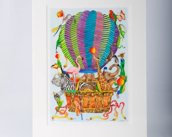 The Menagerie Flight  Limited Edition Print by Jenny Laidlaw, nursery wall art