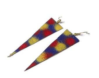 Xxl Fireworks fue triangle copper enameled earrings