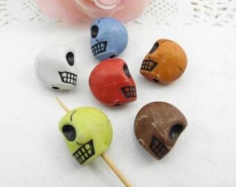 20pcs 18mm Skull Beads, Resin Skull Beads, Day Of The Dead, Sugar Skulls, Skull Charms  Plastic Beads