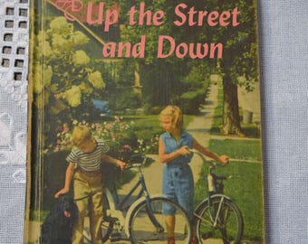 Up the Street and Down Reading Textbook Old School Reader Vintage Book 1958 Edition PanchosPorch