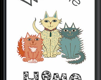 Welcome Home no.2 Cat Art Downloadable Print