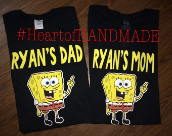Sponge Bob mom dad family birthday shirts