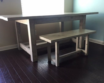 Trestle Dining Room Table and Matching Bench