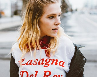 Lasagna Del Rey Tshirt | Vintage Inspired Tee | Ringer Tee | gifts for her | carbs tshirt | noodles tee | Italian Food | pasta t shirt | 70s