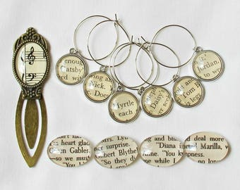 Bookworm Gift Set Literary Pack - Wine Glass Charm Magnet Bookmark Journal Planner Clip - Accessories Unisex Geekery For Her Him Homewares