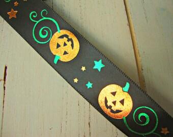 Black Ribbon with Shiny Orange Jack O' Lantern Halloween Pumpkins