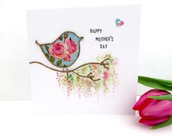 Mother's Day Card, Handmade special mum card, twig bird on branch, mother's day keepsake, nature card, garden card, floral bird art.