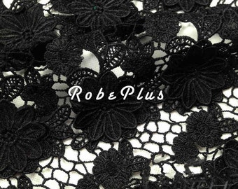 Black Lace fabric-Floral Chemical Lace - Premium Heavy Lace - Black Floral Lace Fabric-Black Embroidered Lace Fabric-L89
