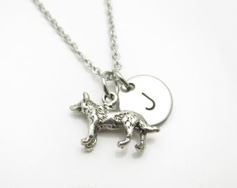 Werewolf Necklace with Initial Charm, Silver Werewolf Charm, Personalized Stamped Initial Letter, Stainless Steel Monogram Necklace (Y045)