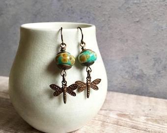 Dragonfly charm earrings,handmade earrings,artisan lampwork earrings, uk