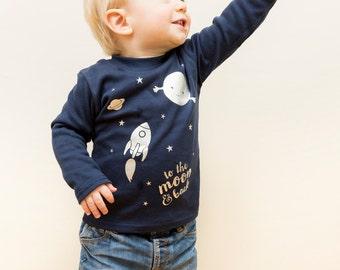 To the moon & back kids long sleeved t-shirt, kidswear, rocket t-shirt, toddler tshirt