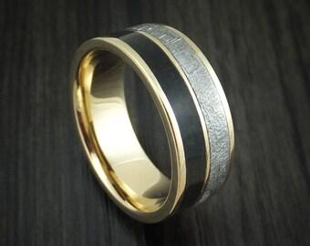 14K Yellow Gold Black Dinosaur Bone and Gibeon Meteorite Ring Custom Made Fossil Band