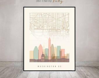 Washington DC map, Washington DC skyline print, poster, Travel gift, Office decor, Wall art, City prints, Home Decor, ArtPrintsVicky