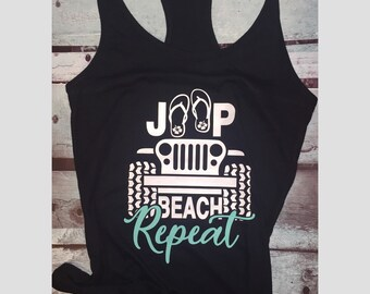 Womans racerback jeep tank top/Jeep beach repeat/Fitness tank top/Gym tank top/Crossfit tank top
