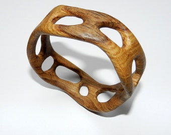 Wooden bracelet, Wooden bangle, Handcarved Bracelet.