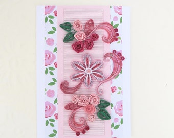 Free Shipping Card Paper Quilling Pink Roses,  Paper Quilled Crimson Flowers, Birthday, Mom Floral Art, Congratulations, Thinking Of You,