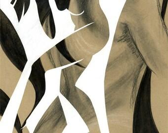 original art, modern dance, Figurative Collage IV, mixed media, figure drawing, collage