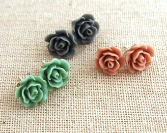 Sterling Silver Vintage Rose Earrings