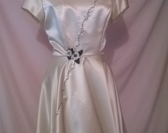 Vintage Style 50s Wedding Dress,Classic Cocktail Dress,Women's DesignerDress,Wedding Dress,Ivory DressHandmade Dress, READY TO SHIP