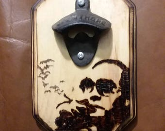 Small Hunter S. Thompson Wood Burned Bottle Opener Plaque, Fear and Loathing in Las Vegas