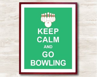 Sports decor, Personalized Print, Keep Calm poster, Printable Print, Children room art, Keep Calm and Go Bowling,Instant Download,Fun Poster