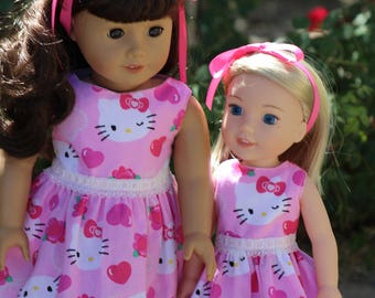 "Kitty Inspired Pink Dress to Fit Like American Girl Doll Clothes Dress, 18"" Doll Dress, 18"" Doll Clothes, 14.5"" Doll Wellie Wishers"