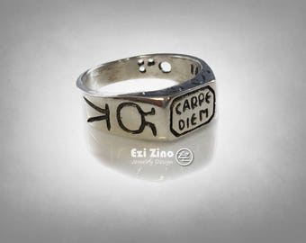 Carpe Diem Seize the Day sundial Sterling Silver RING ALL SIZE