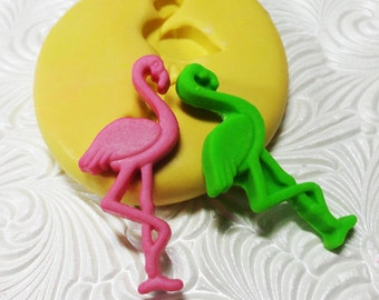 "1 1/2"" Flamingo Mold Pink Flamingo Flexible Silicone Rubber Push Mold for Resin Wax Fondant Clay Ice 6020"