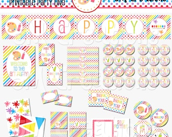 Rainbow Art Party Printable Package - Art Birthday Party Decorations - Rainbow Party Banner - Art Party Package - INSTANT DOWNLOAD Pdf
