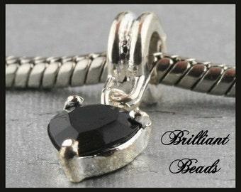 Silvertone Faceted Black Heart Dangle Charm Big Hole Bead for European Style Bracelet