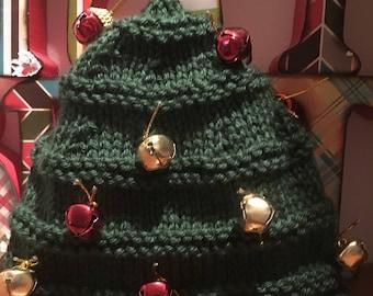 Jingle bell Noël chapeau, tricoté bonnet vert vacances, parti chandail laid