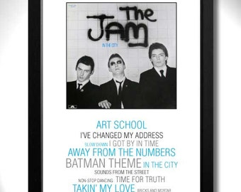 THE JAM - In The City Album Limited Edition Unframed A4 Art Print with Song Titles