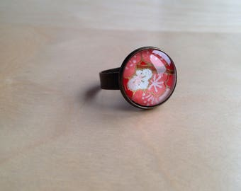 Ring adjustable red flowers