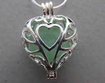 Beacvh Glass Heart Locket, Sea Glass Locket, Heart Seaglass Pendant, Beach Glass Necklace, Beach Glass Jewelry