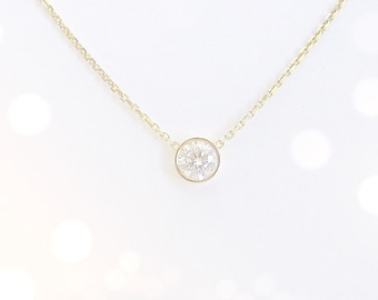 Diamond Solitaire Necklace 0.30 ct. - 14k white or yellow gold - natural diamond - floating diamond necklace - SkinnyBling best seller