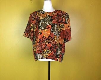 Vintage Floral Print Blouse / Wild Flower Print Top / Short Sleeve Blouse / Summer Shirt / T-Shirt / Orange Gold Green Retro