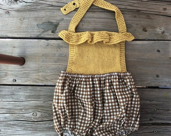 Babies clothes 12-18 month Knitwear romper knit Boho baby girls clothes photo shoot outfit baby clothes mustard yellow ruffle birthday girl